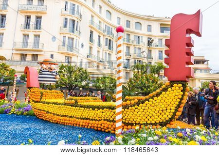 Menton, France - February 14: Art Made Of Lemons And Oranges In The Famous Lemon Festival (fete Du C
