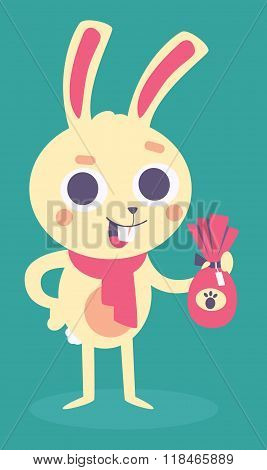 Happy Bunny Holding An Easter Chocolate Egg