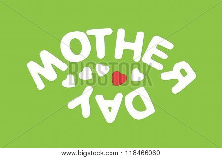 Title Mother's Day On The Green Background, Symbolic Illustration