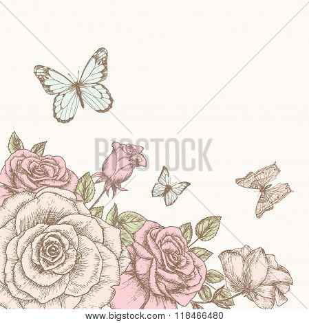 Rose with butterfly