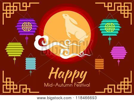 Happy Mid Autumn Festival Card Is Lanterns And Rabbit In Moon And Cloud