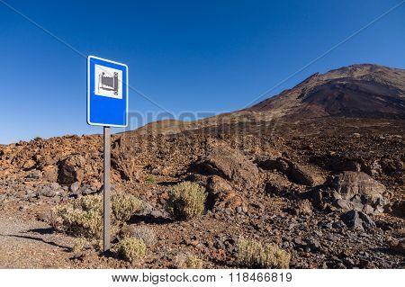 Landmark Road Sign Near Pico Viejo Volcano