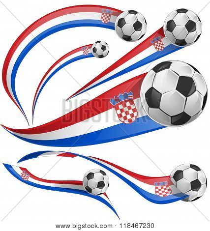 croatia flag set with soccer ball isolated