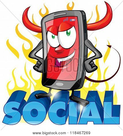 evil fun mobile cartoon on flame background