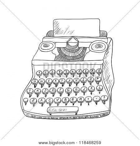 Typewriter on white background. Black and white illustration