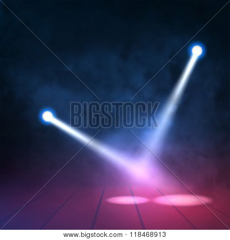 Floodlights spotlights illuminates wooden scene. Vector illustartion.