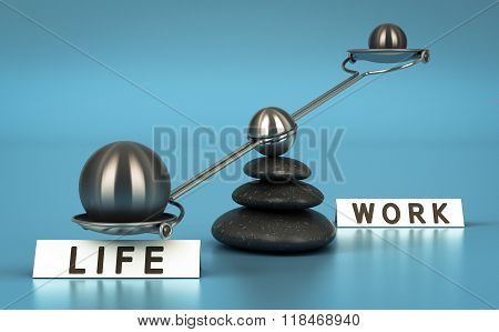 Work And Life Balance Over Blue