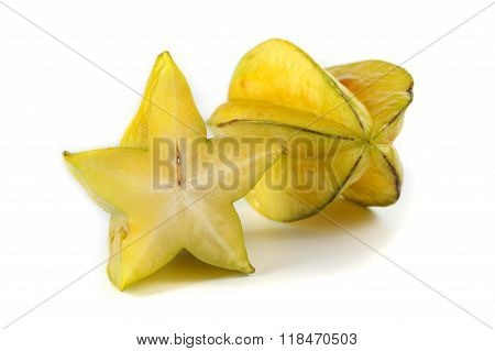 Yellow Carambola Star Fruit Isolated On White Background