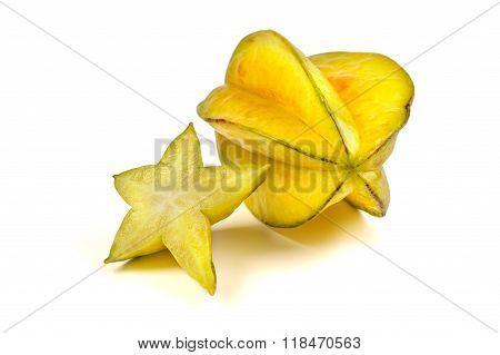 Two Averrhoa Carambola Starfruits Composition Isolated Over White Background