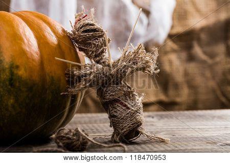 Burlap Puppet Near Pumpkin