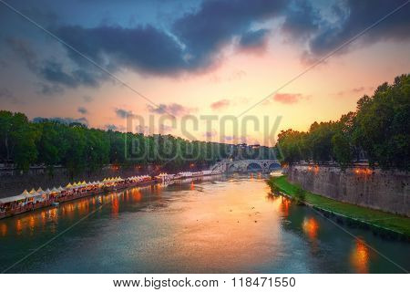 Tiber river and Rome city view