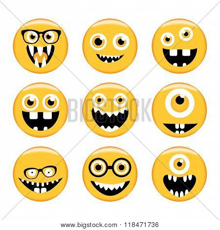 Set of Emoticons. Emoji. Monster faces in glasses with different expressions