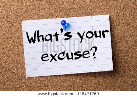 What's Your Excuse? - Teared Note Paper Pinned On Bulletin Board