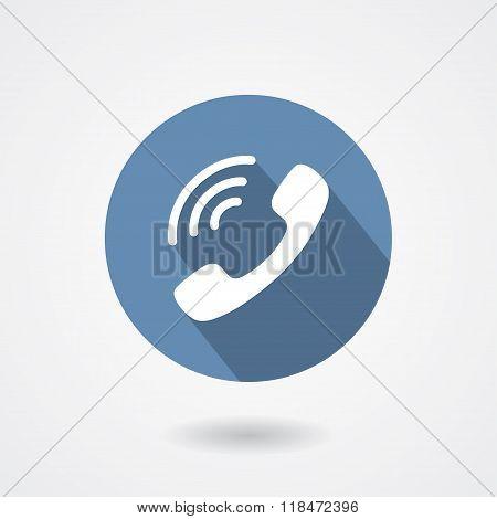 Ringing phone handset icon isolated on white background