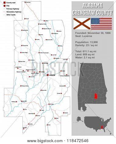 Alabama Crenshaw County Map