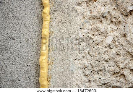 Polyurethane Foam Filled Crack In The Wall