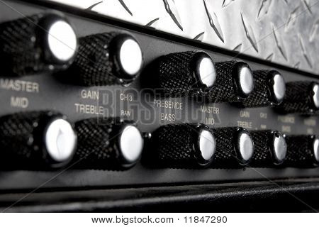 black musical guitar amplifier panel