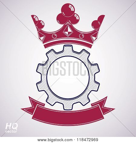 Vector industrial design element cog wheel with a coronet and red decorative curvy ribbon. Manufacturing gear icon. Best engineering project award conceptual symbol. Royal heraldic coat of arms.
