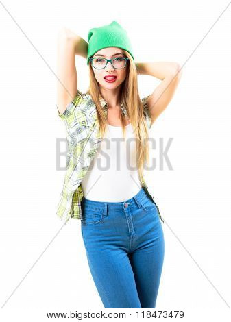 Street Style Trendy Hipster Girl Isolated on White