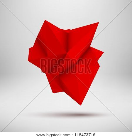Red Abstract Polygonal Shape