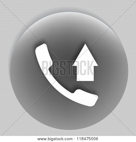 Flat Paper Cut Style Icon Of Outcoming Call