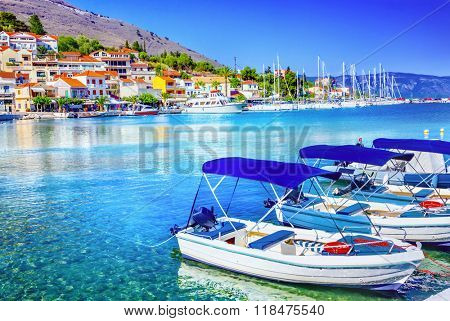 Fishing boats at the coast of Kefalonia, Greece