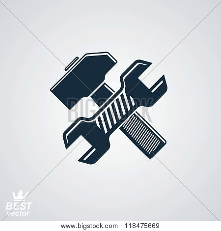 Simple vector wrench and hammer crossed. True graphic reparation industry theme icon isolated on white. Classic mallet detailed design illustration.