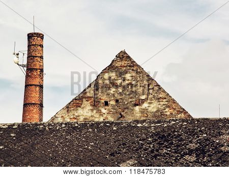 Old Brick Chimney And Roof, Retro Architectural Scene