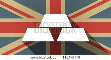 Long Shadow Uk Flag Icon With Three Gold Bullions
