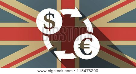 Long Shadow Uk Flag Icon With A Dollar Euro Exchange Sign