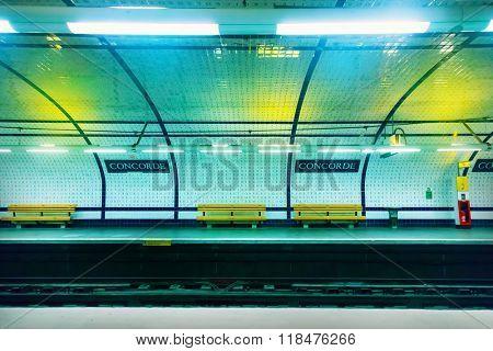 PARIS - AUGUST 10: Paris Metro station on AUGUST 10, 2011 in Paris, France. Metro station in Paris