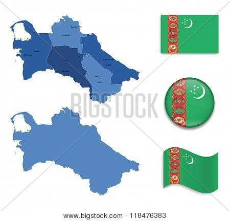 High Detailed Map of Turkmenistan With Flag Collection