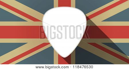 Long Shadow Uk Flag Icon With A Plectrum