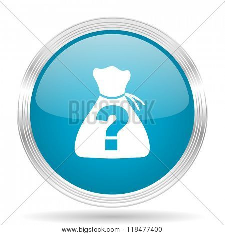 riddle blue glossy metallic circle modern web icon on white background