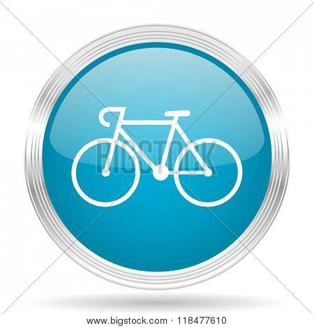 bicycle blue glossy metallic circle modern web icon on white background