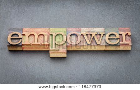 empower word banner in letterpress wood type printing blocks stained by color inks