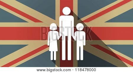 Long Shadow Uk Flag Icon With A Male Single Parent Family Pictogram