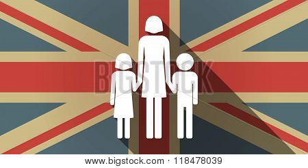 Long Shadow Uk Flag Icon With A Female Single Parent Family Pictogram