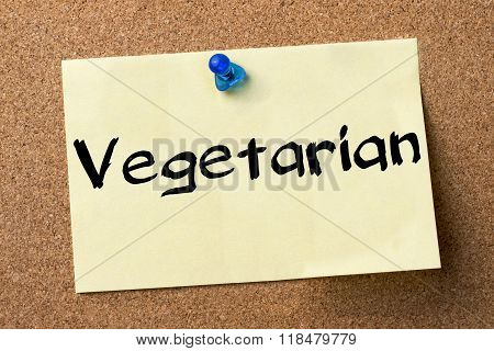 Vegetarian - Adhesive Label Pinned On Bulletin Board