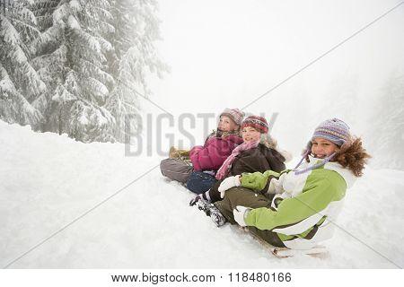 Children on toboggan