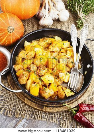 Stewed Turkey With Pumpkin And Potatoes