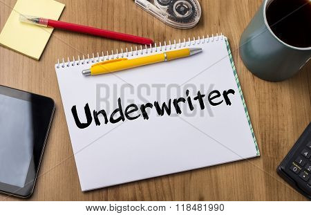 Underwriter - Note Pad With Text