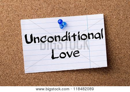 Unconditional Love - Teared Note Paper Pinned On Bulletin Board
