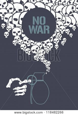 Stop war concept vector illustration with grenade