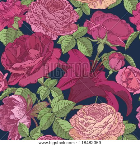 Vector floral seamless pattern with lilies, peonies, red and pink roses