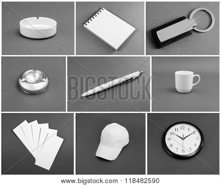 Set Of White Corporate Identity Template On Gray Background.