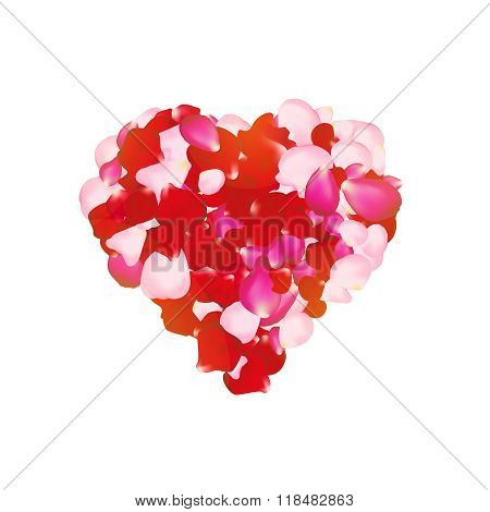 Vector rose petals heart. Can be used for creating postcards, wedding albums, footage etc. Gradient