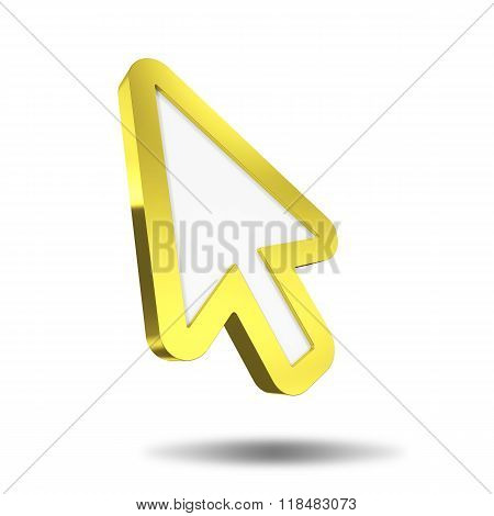 Flying Golden mouse pointer on a white background.