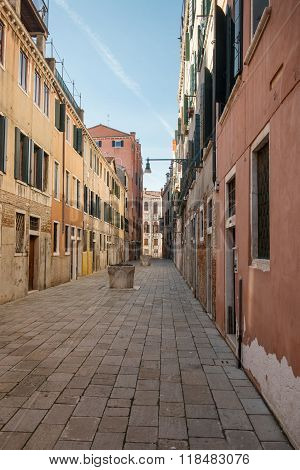 VENICE, ITALY - FEBRUARY 5 2016: Streets And Bridges Of Venice