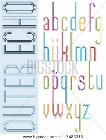 Poster Bright Echo Condensed Font, Striped Compact Light Lowercase Letters On White Background.